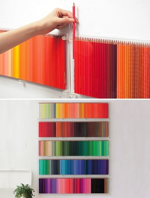 Colored Pencils Hanging On the Wall