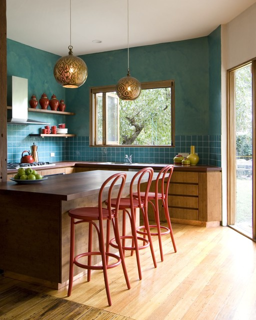 Colorful turquoise wall Kitchen