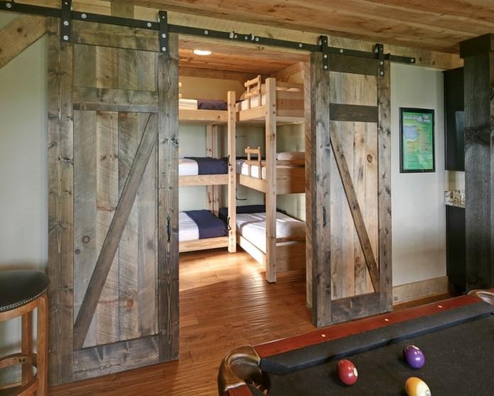 Gray Bedroom Barn Door Design