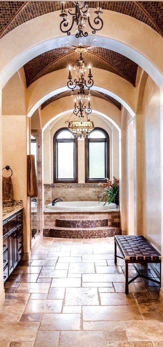 Mediterranean bathroom with bathtub