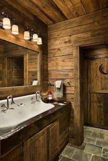 Rustic Log Cabin Bathroom Ideas
