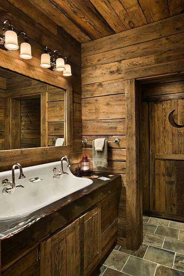 Rustic Log Cabin Bathroom Ideas