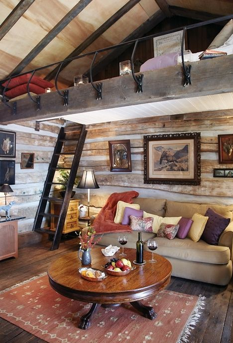 Rustic cabin loft bedroom