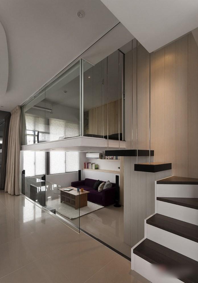 Stunning loft bedroom in modern appartment