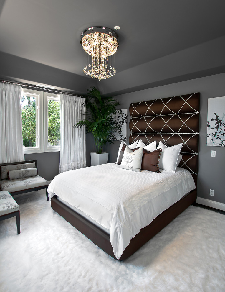 Transitional Bedroom with Drapery in Orange County