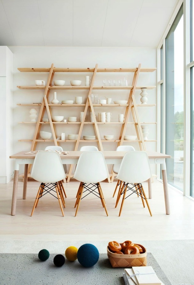 White Dining Room with Wood