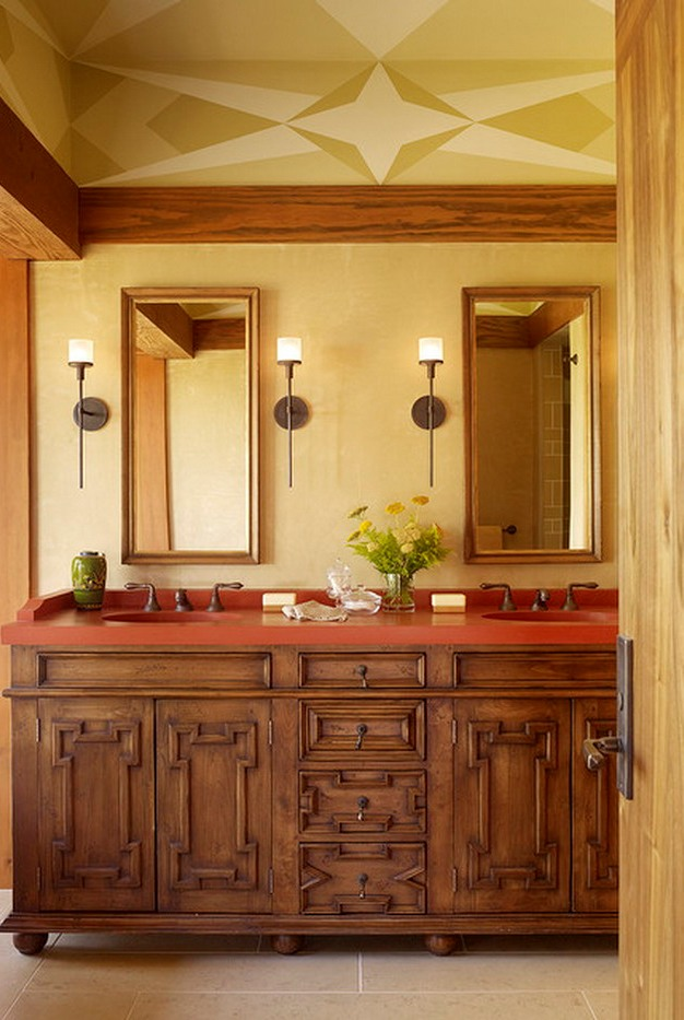 Abstract-Ceiling-Painting-in-Mediterranean-Bathroom