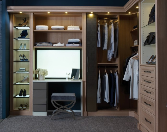 Closets With Brown Minimalist Cabinet Featuring Gray Carpet With Contemporary Chair
