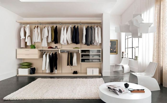 Walk In Wardrobe IKEA with White Rug