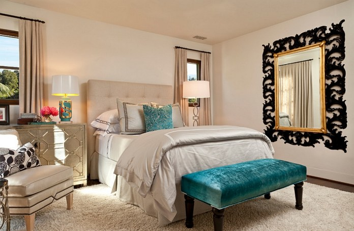 Pops-of-turquoise-enliven-the-fabulous-and-cozy-bedroom