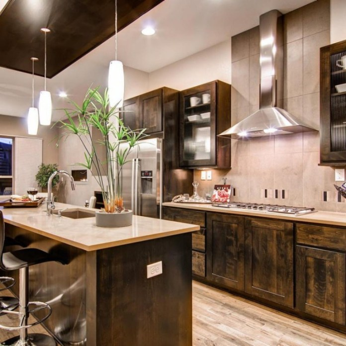 Wooden Rustic Modern Kitchen Cabinets