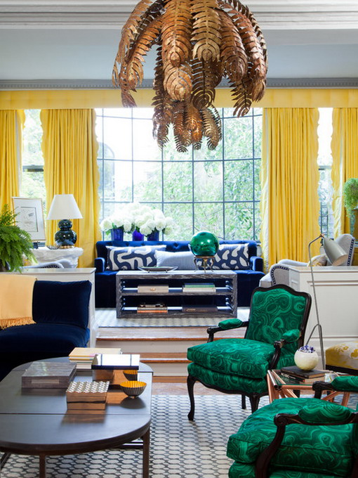 Yellow Curtain in Eclectic Living Room