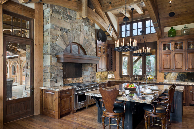 rustic kitchen with brick