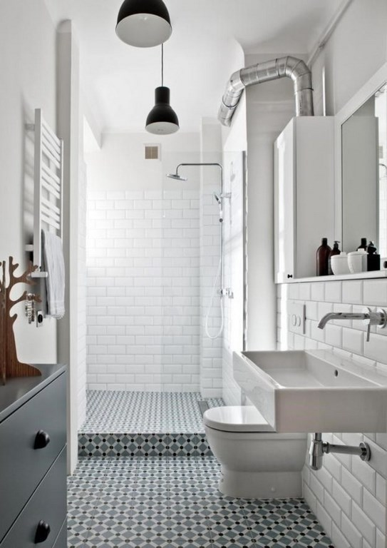 Industrial Bathroom with Subway Tiles