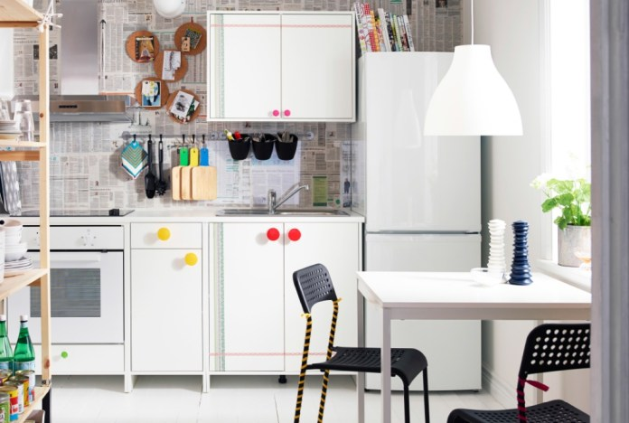 Kitchen with white IKEA cabinets