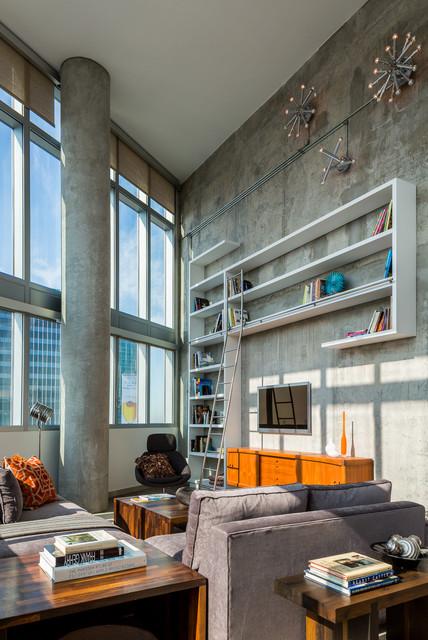 Luxury Penthouse Loft Living contemporary-living-room