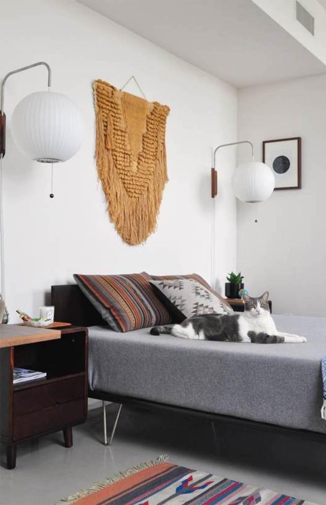 Midcentury Bedroom with Sliding Doors