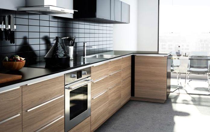 Modern wood finish IKEA kitchen with dark worktops
