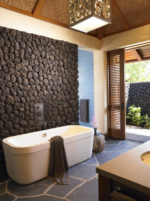 Tropical Bathroom With Stone Decor