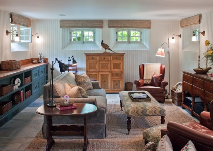 basement-window-coverings-Family-Room-Eclectic-with-baskets-beadboard-wood-panels
