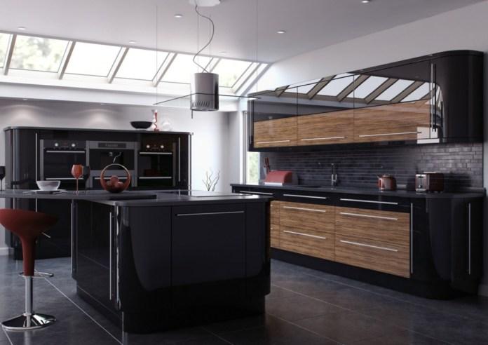 modern kitchen design with cabinets