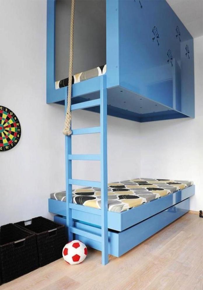 Blue Color Bunk Beds Kids Bedroom
