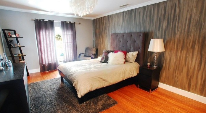Modern Bedroom With Stucco Wall Paint