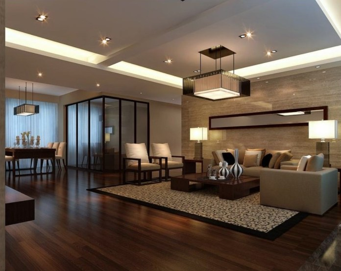 This living room is the best living room the amusing cherry wood flooring and ample light decoration with a classic rug creating a festive feeling
