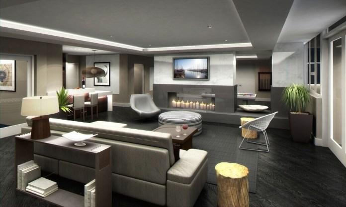 Grey Living Room With Dark Black Hardwood FLooring