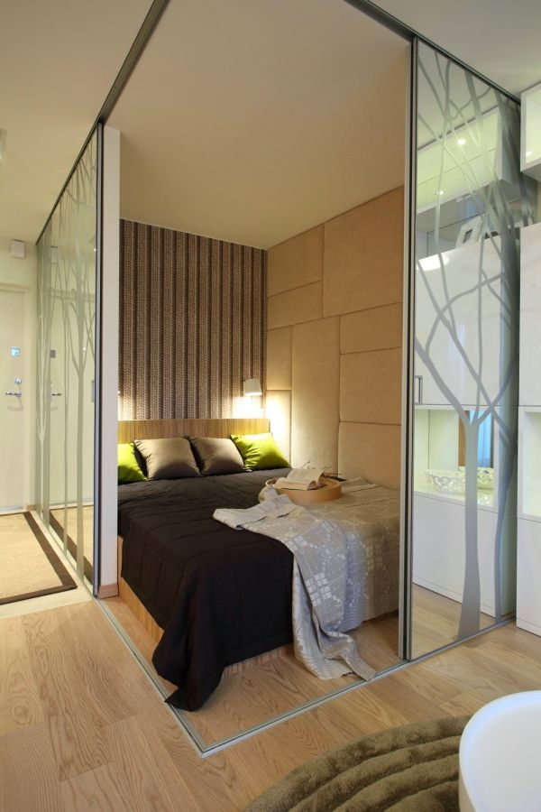 soundproof walls for a better night's sleep, and a comfortable bed-studio-bedroom-corner-sliding-walls