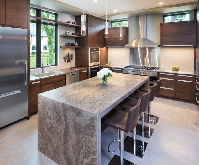 Island Modern Kitchen With Granite Countertop