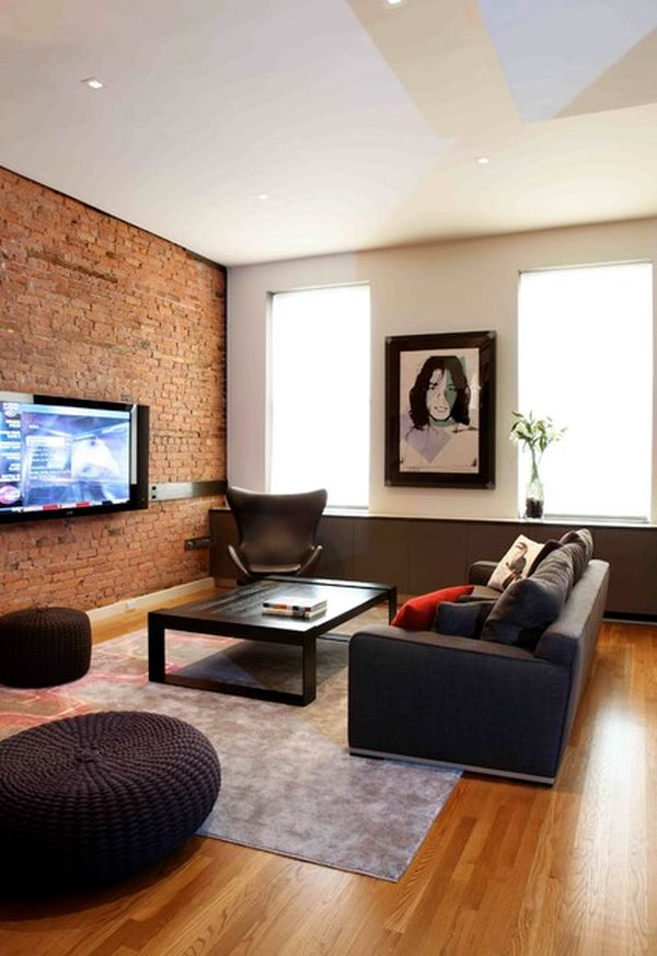 Living Room With Exposed Brick Wall (5)