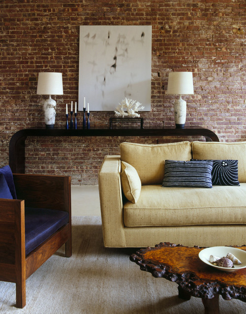 Living Room With Exposed Brick Wall (7)