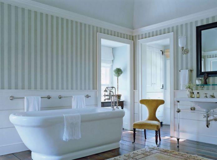 Stripped Contemporary Bathroom Wallpaper