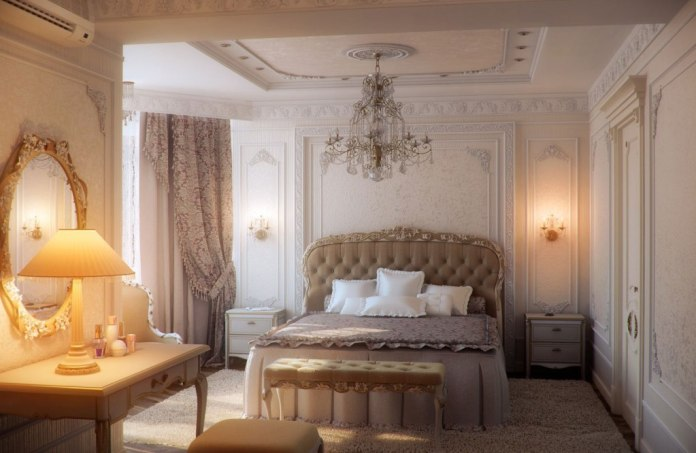 Traditional Romantic Bedroom with Beautiful Chandelier