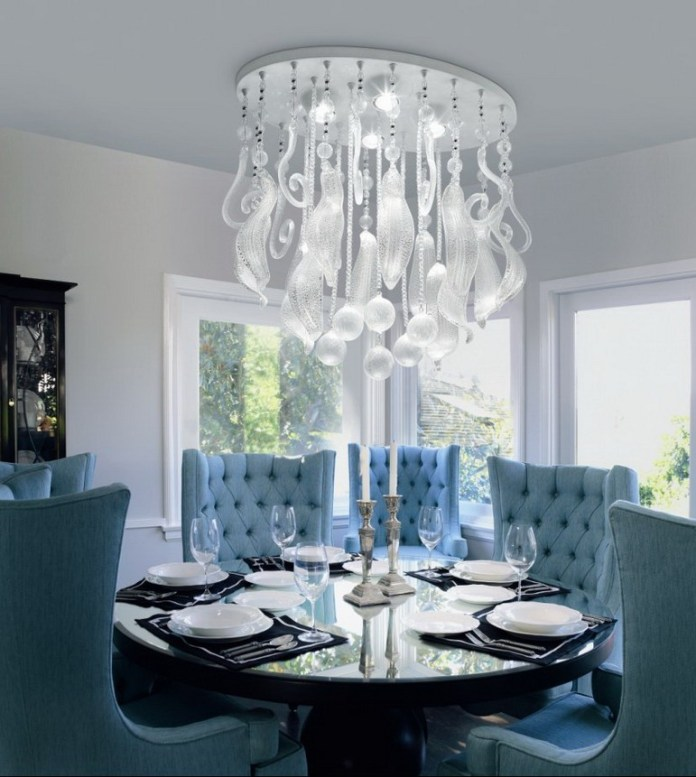 White Crystal Unique Dining Room