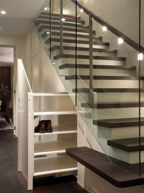 contemporary under the stairs shoerack