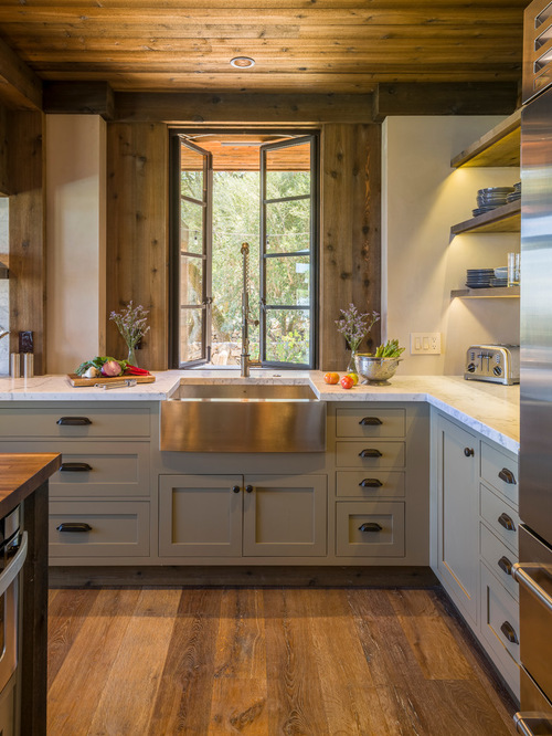 rustic-kitchen-with-steel-countertop