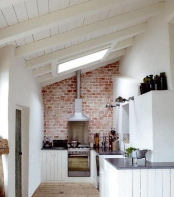 Attic Brick Backsplash Kitchen Design