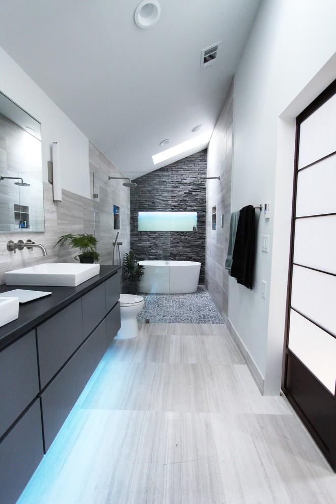 Cool Gray Contemporary Bathroom Design