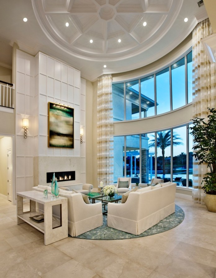 Large Tropical Formal Open Concept Living Room Dwellingdecor
