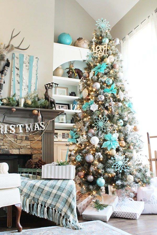 Christmas Tree Adorned With Silver, Gold And Copper dwellingdecor
