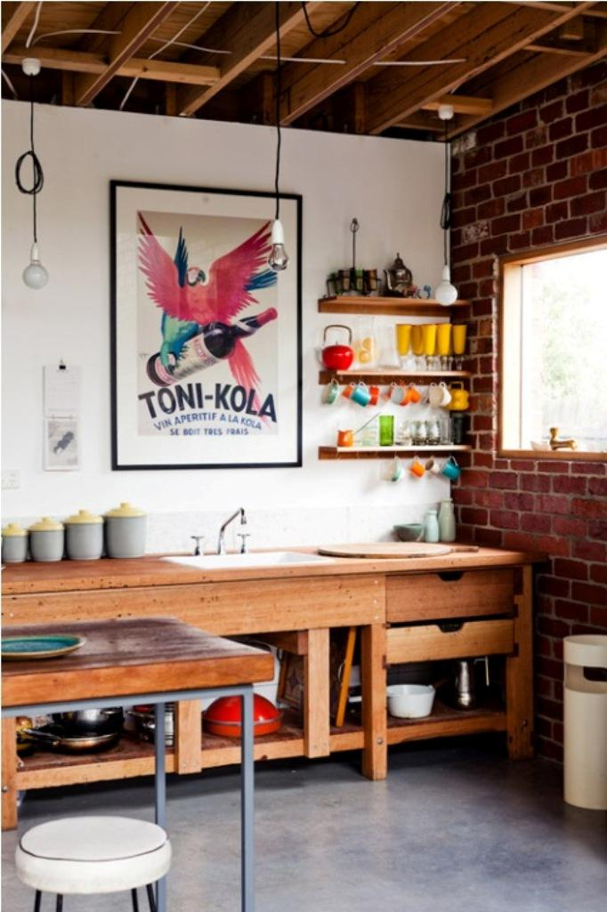 Cool Eclectic Kitchen With Exposed Brick Wall Dwellingdecor