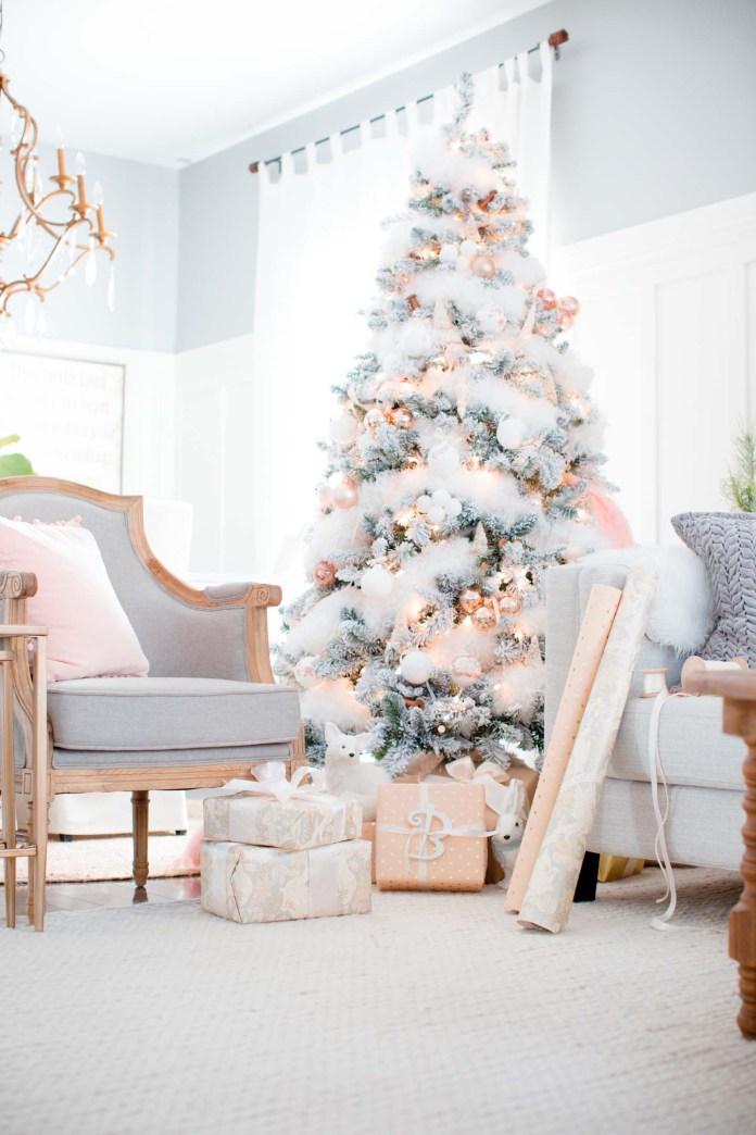Peach Gold And White Christmas Tree dwellingdecor