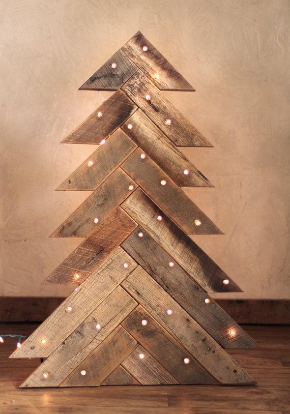 Rustic Wood Christmas Tree with optional lights Dwellingdecor
