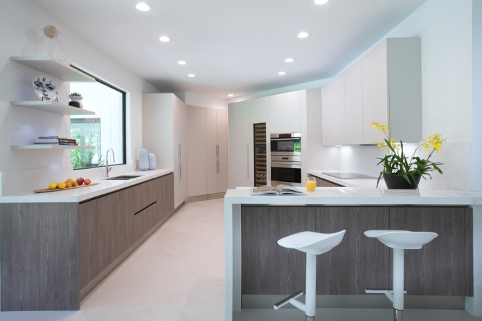 Contemporary u-shaped kitchen with a flat-panel Gray cabinets Dwellingdecor
