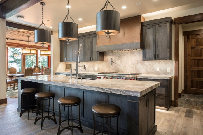 Rustic Kitchen With Dark Wood Cabinets& Gray backsplash