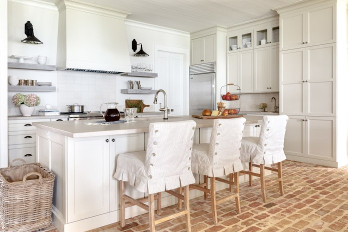 Shabby-chic Style Brick Floor And Red Floor Kitchen