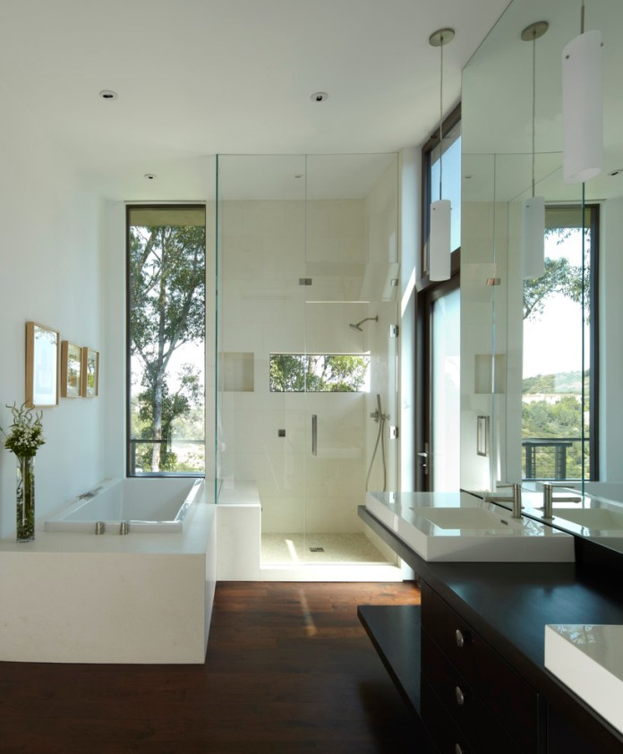 Contrasting materials in the master bathroom