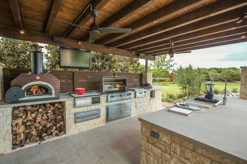 Covered patio With Gourmet Kitchen Dwellingdecor